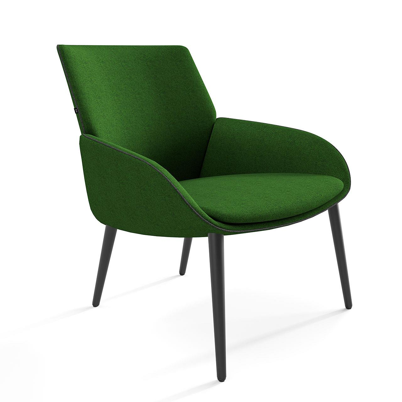 Actiu Noom 10 4 Point Wood Upholstered Green Chair