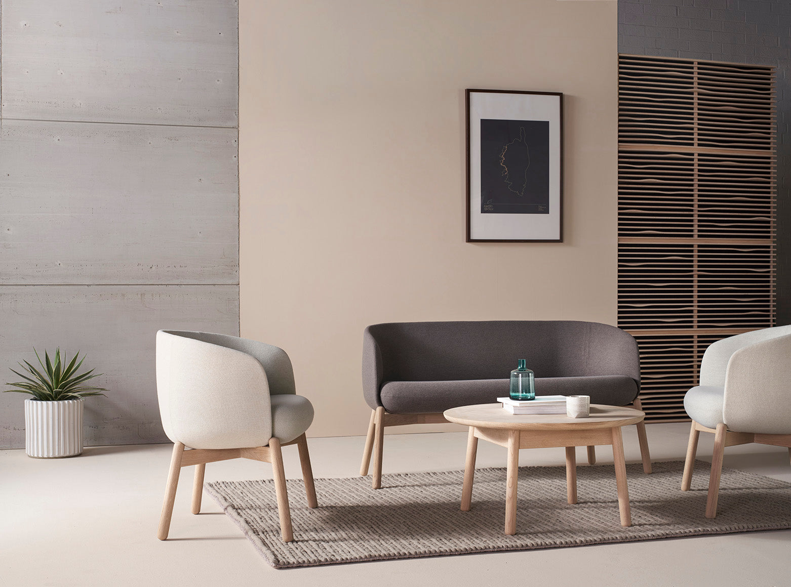 +Halle Low Nest Easy Chair Wood Finish