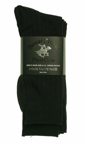 Beverly Hills Men's 5 Pair Ribbed Stretch Dress Socks Black