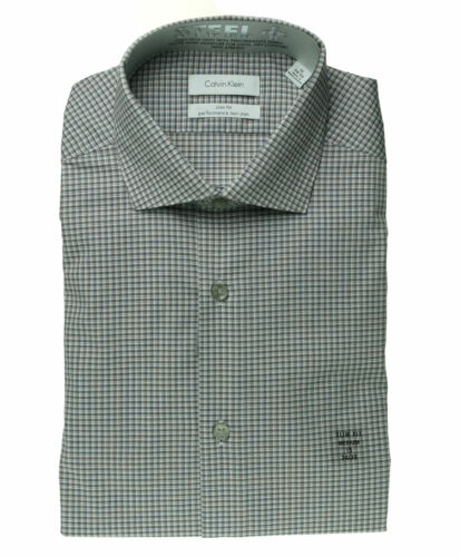 Calvin Klein Men's Performance Non Iron Slim Fit Dress Shirt Dark Gray