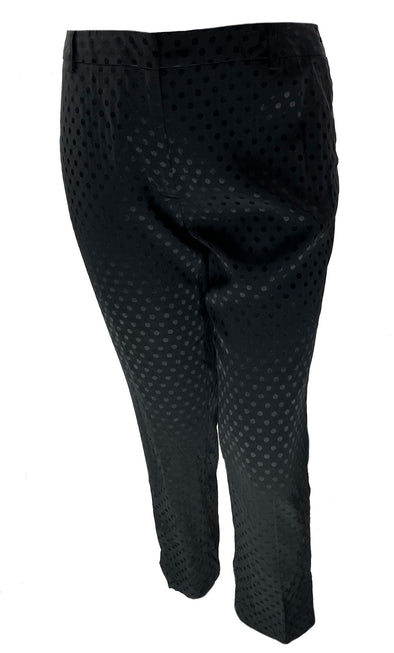 Calvin Klein Women's Slim Fit Polka Dot Jacquard Pants Black Size 12P