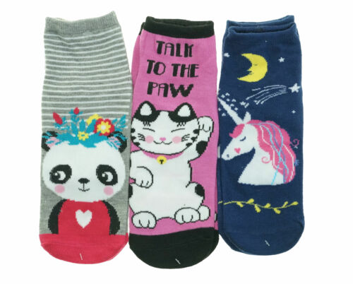 Alexa Rose Women's 3 Pack No Show Animal Gripper Socks Panda Cat Unicorn