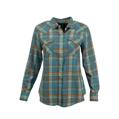 Lauren Ralph Lauren Women's Cotton Plaid Snap Up Western Shirt Blue Size XL