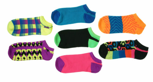Everlast Women's 7 Pair Value Pack No Show Bright Color Socks Blue Yellow Multi