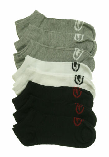 Ecko Unltd Boy's 8 Pair Pack Flat Knit No Show Socks Black White Gray Sock 9-11