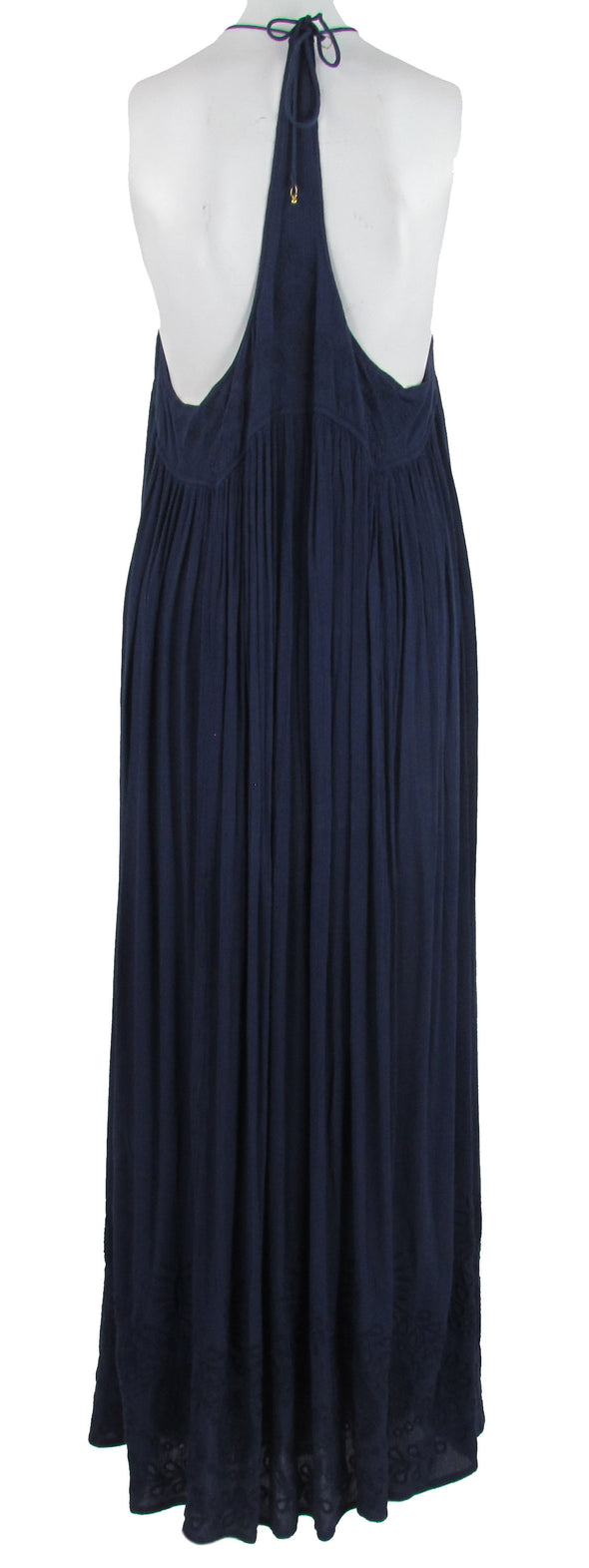 Free People Women's Embroidered Elaine Maxi Slip Dress Navy Blue Size Medium