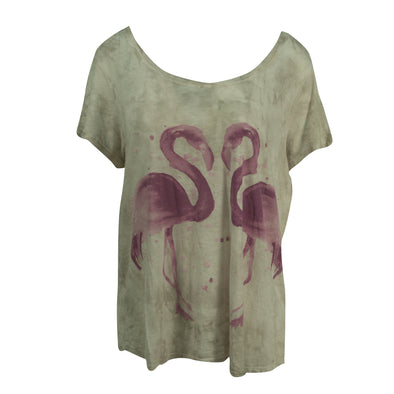 Lucky Brand Women's Plus Size Trendy Flamingo Printed T Shirt Gray Size 2X