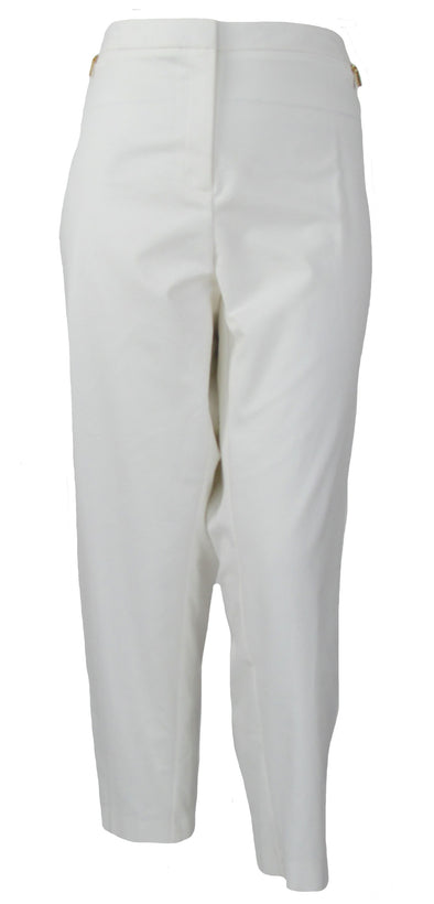 Calvin Klein Women's Plus Size Gold Zip Detail Ankle Pants White Size 24W