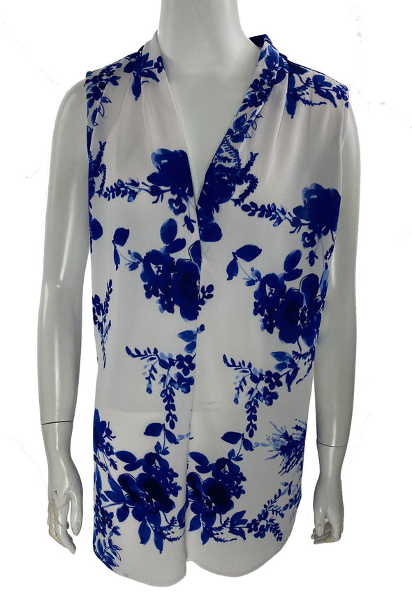Calvin Klein Women's Floral Print V Neck Sleeveless Top Blue White Size XL