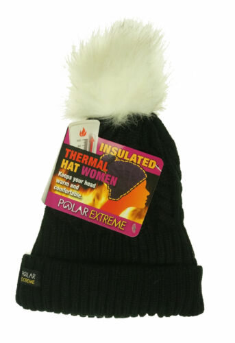 Polar Extreme Women's Thermal Lined Insulated Pom Pom Cable Knit Beanie Black