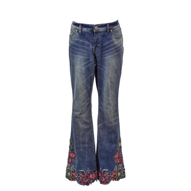 INC Women's Curby Fit Boot Leg Embroidered Beaded Jeans Medium Blue Size 8