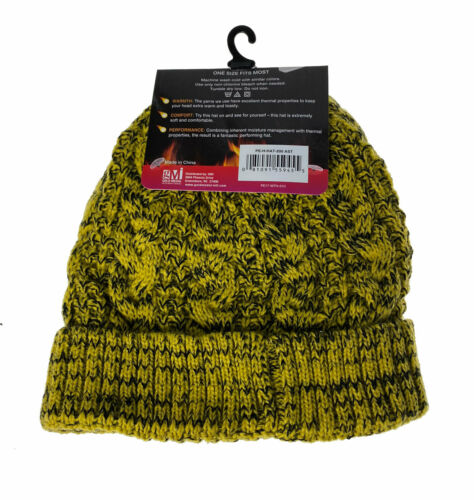 Polar Extreme Heat Women's Insulated Thermal Lined Marled Cuff Hat Yellow Black