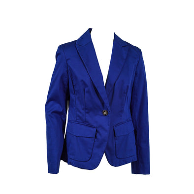 Jones New York Women's One Button Long Sleeve Blazer Blue Size 4