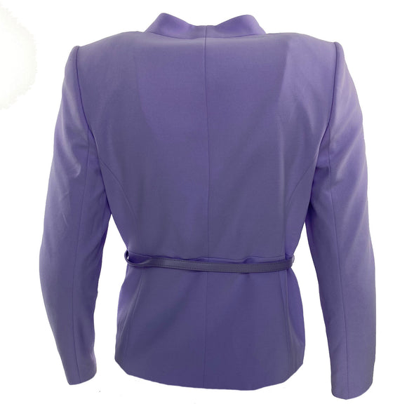 Calvin Klein Women's Petite Belted Collarless Blazer Light Purple Size 12P