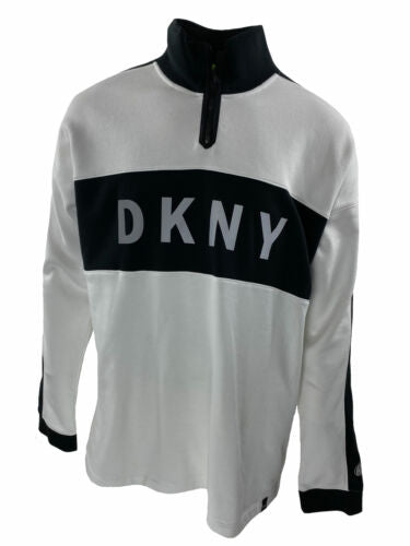 DKNY Men's Colorblocked Reflective Logo 1/4 Zip Fleece Sweatshirt Size XL