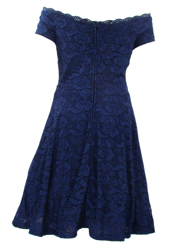 B Darlin Women's Plus Size trendy Off The Shoulder Lace Dress Blue Size 18W