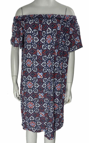 Michael Kors Women's Mosaic Off the Shoulder Dress Blue Coral Size Medium