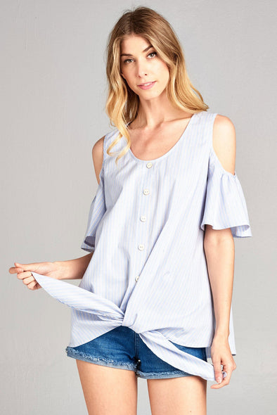 Cotton Bleu Striped Button Down Cold Shoulder Top Sky Taupe