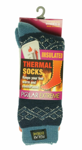 Polar Extreme Women's Thermal Insulated Lined Socks Ivory Blue Diamond Stripes