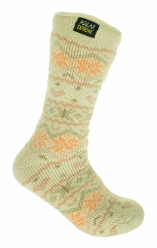 Polar Extreme Women's Thermal Insulated Lined Crew Socks Ivory Orange Fairisle