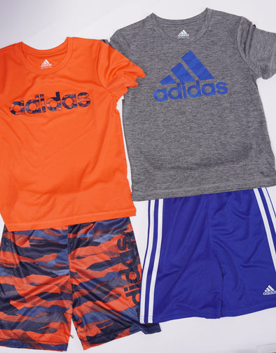 Adidas Boy's 4 Piece Short Sleeve Shirt Shorts Set Orange Gray Blue Size 6
