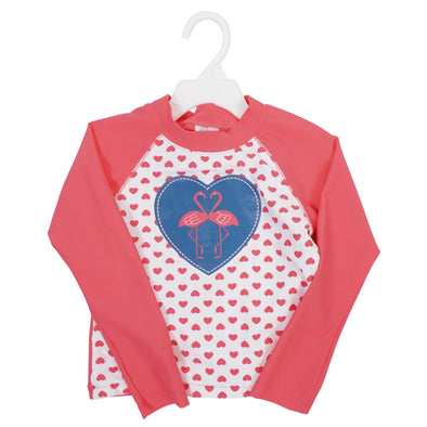 Kiko & Max Girl's Flamingo Hearts Long Sleeve 2 Piece Rashguard Swim Set Coral
