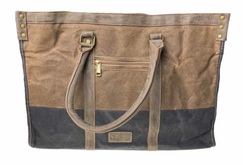 Cargo IT Zipper Closure Weekend Bag Brown Navy Blue