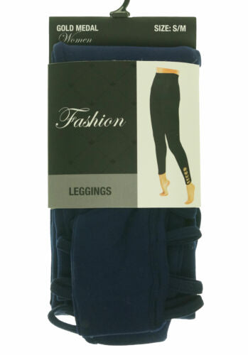 Gold Medal Women's Fashion Fleece Lined Leggings with 5 Side Holes Navy