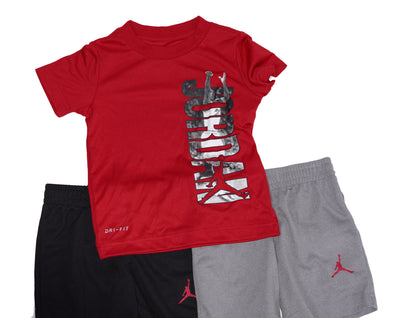 Jordan Air Toddler Boy's 3 Piece Short Sleeve Shirt Shorts Set Red Black Size 2T
