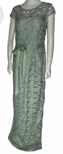 Adrianna Papell Women's Cap Sleeve Illusion Lace Gown Mint Green Size 10