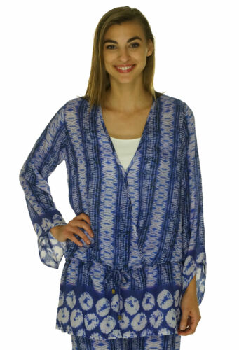 Bindya New York Women's Pullover V Neck Cover Up Shirt Blue $130