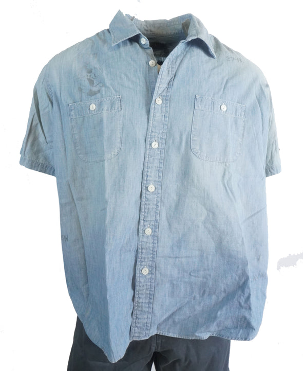 Polo Ralph Lauren Men's Nautical Chambray Button Front Short Sleeve Shirt XXL