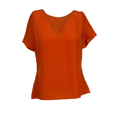 Michael Kors Women's Crepe Peplum Back Zip Short Sleeve Top Orange Size Large