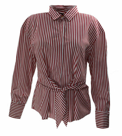 Lauren Ralph Lauren Women's Striped Button Front Tie Shirt Red White Size XXL