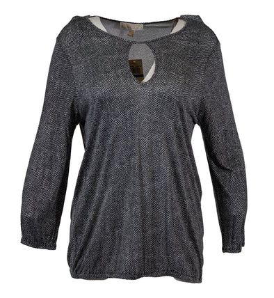 Michael Kors Women's Long Sleeve Keyhole Printed Blouse Gray Size XL