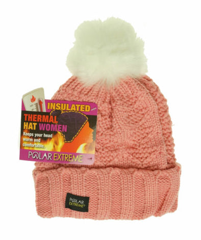 Polar Extreme Women's Thermal Fleece Lined Insulated Pom Pom Cuffed Beanie Pink