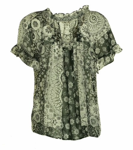 Beltaine Women's Floral Print Short Sleeve Peasant Blouse Black Cream