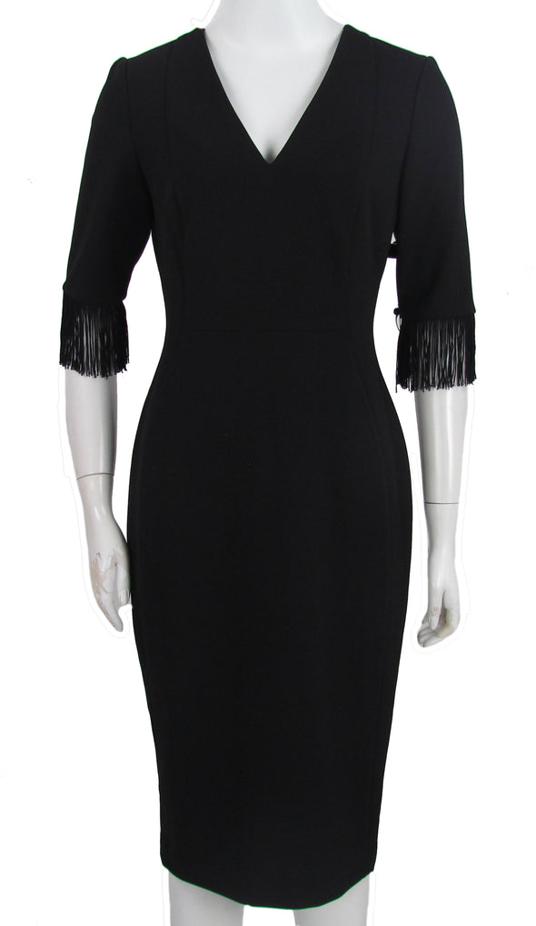 Calvin Klein Women's V Neck Fringe Sheath Dress Black Size 4