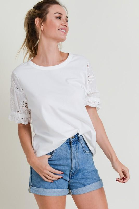 Cotton Bleu Round Neck Eyelet Lace Sleeves Shirt White