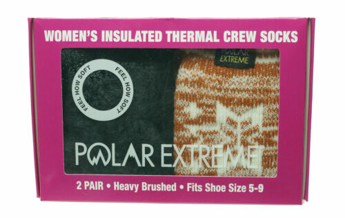 Polar Extreme Women's 2 Pair Thermal Insulated Fleece Crew Socks Marl Orange