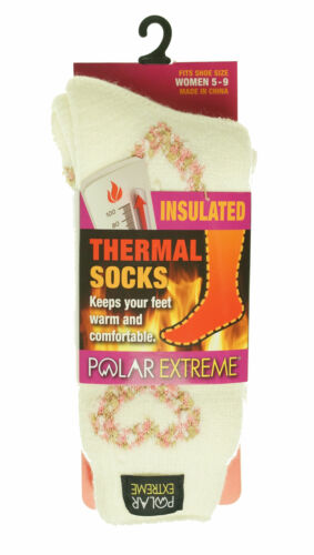 Polar Extreme Women's Thermal Insulated Lined Crew Socks Ivory Pink Hearts