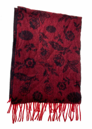 Charter Club Women's Ditsy Floral Woven Cashmere Scarf Red Black One Size