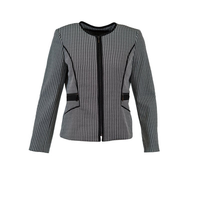 Kasper Women's Houndstooth Knit Full Zip Blazer Jacket Black White Size 10