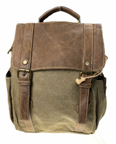 Cargo IT Waxed Canvas Trim Flap Over Backpack Brown Military Green