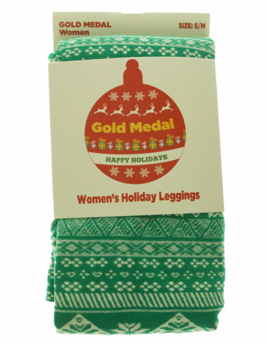 Gold Medal Women's Fleece Lined Christmas Snowflake Fairisle Leggings Green