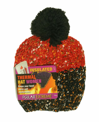 Polar Extreme Women's Thermal Fleece Lined Insulated Pom Pom Beanie Black Red