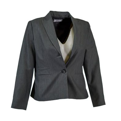 Le Suit Women's Petite Two Button Striped Suit Jacket Gray Size 12P
