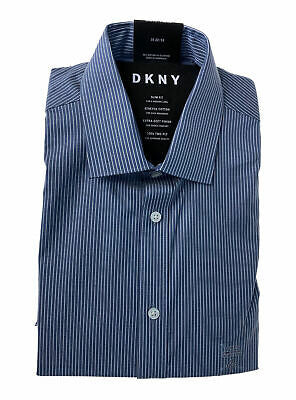 DKNY Men's Slim Fit Stretch Striped Button Front Dress Shirt Blue Size 16 32/33