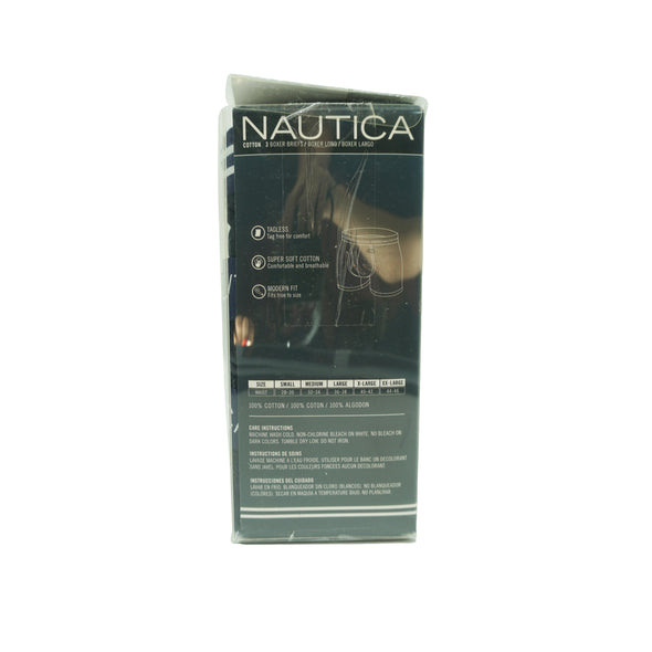 Nautica Men's 3 Pack Super Soft Cotton Classic Boxer Briefs Black Size Medium