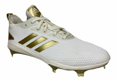 Adidas Men's Adizero Afterburner V Baseball Cleats White Gold Size 8.5